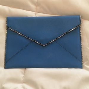 Rebecca Minkoff bright blue envelope clutch